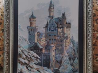 """Вышивка крест. Ручная работа """"Замок Нойшванштайн"""" 32х52 см"""