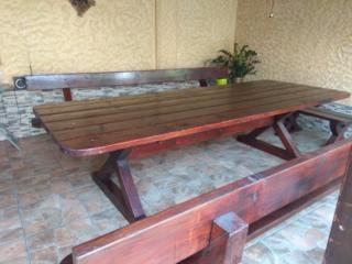 Masă de lemn (stegar) cu 4 scaune