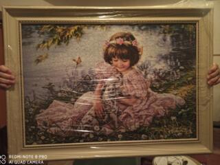 Картина из пазла, из мозайки, из акварели. Ручная работа