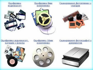 Оцифровка кино-фотоплёнок, видео-аудиокассет. Обработка, монтаж