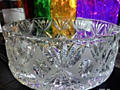 Хрустальная большая ваза для праздничных салатов, производство ЧЕХИЯ.